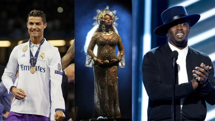 Cristiano Ronaldo, Beyonce y Sean Combs
