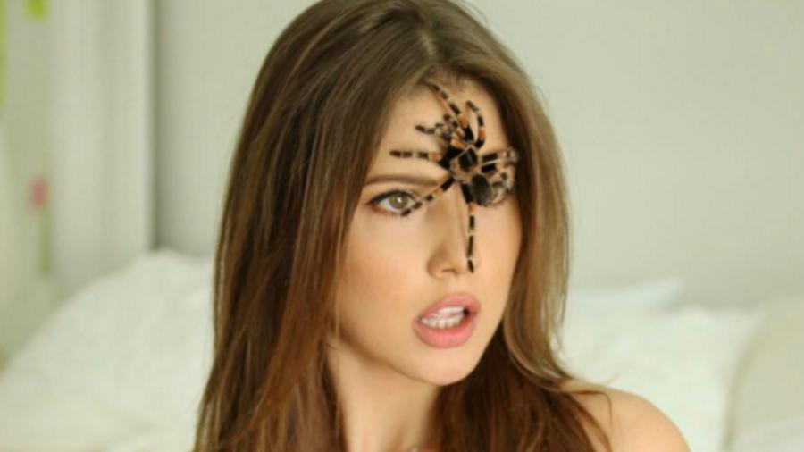 Amanda Cerny con una tarántula en la cara