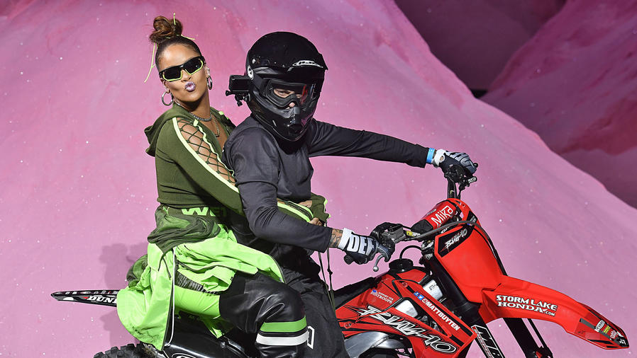 """Rihanna Took Her """"Bows"""" at the Finale of the Fenty Puma by Rihanna Spring Summer 2018 Fashion Show on the Back of a Motorcycle."""