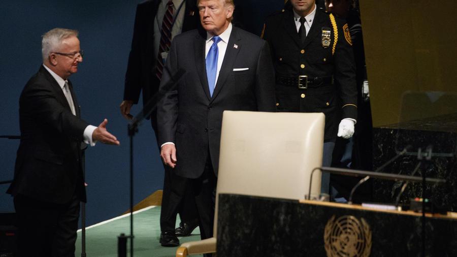 Trump, instantes antes de su primer discurso ante la ONU el 19 de septiembre.