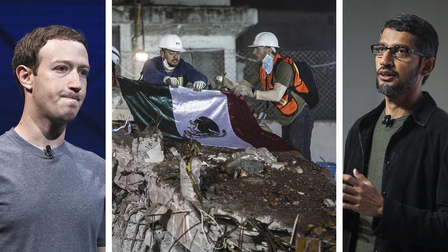 Facebook y Google donarán a México por terremoto