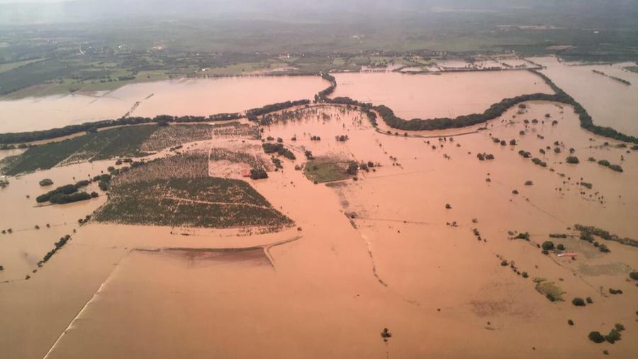 Campos inundados en Montecristi, República Dominicana, el domingo por el huracán María.