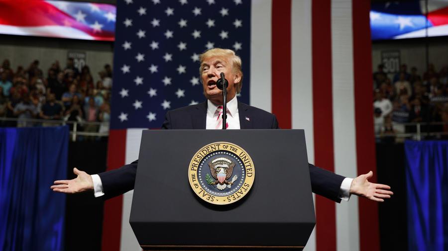 Trump, este viernes en un acto público en Huntsville, Alabama.
