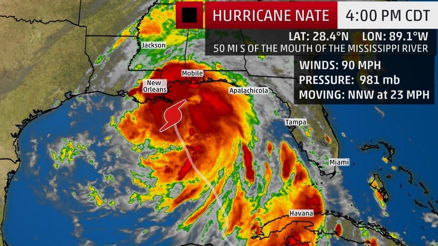 Vientos del huracán Nate