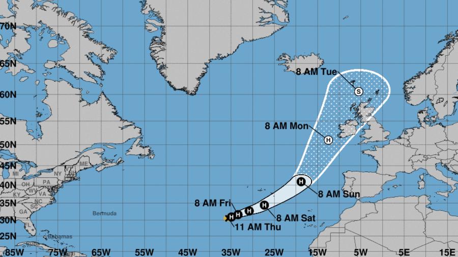 Trayectoria del huracán Ophelia.