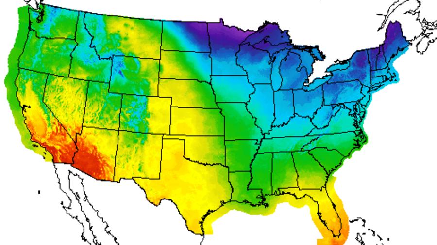 Mapa de temperaturas para Accion de Gracias.