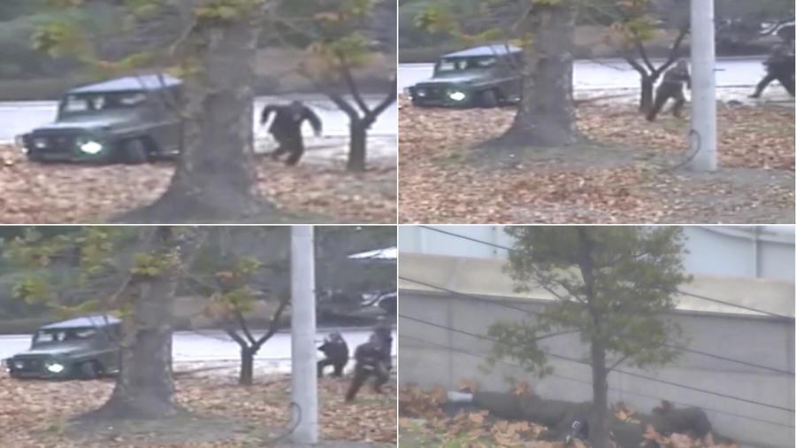 Imágenes tomadas por el Comando de las Naciones Unidas en la frontera entre las dos Coreas que muestra la fuga de un soldado norcoreano.