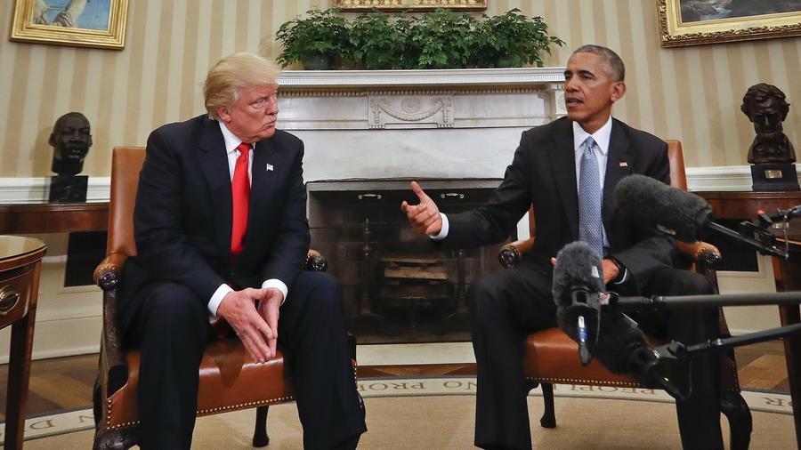 Trump (izquierda) y Obama, reunido en la Casa Blanca el 10 de noviembre de 2016.