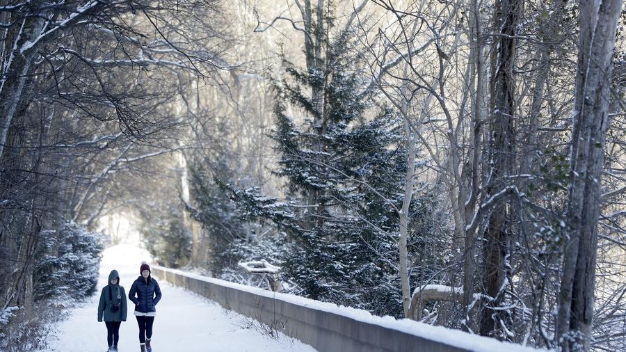Una pareja sale a caminar en Radnor Lake State Park, Nashville.