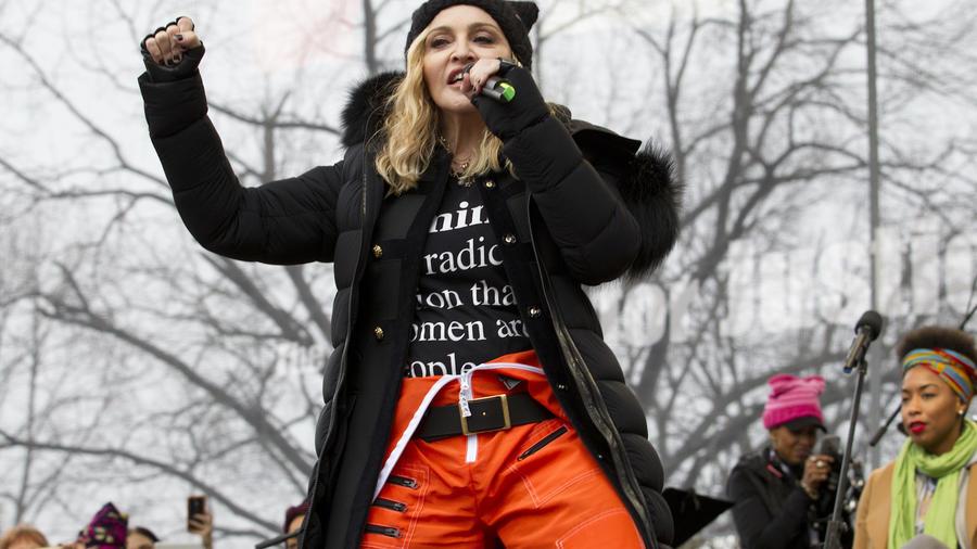 Madonna, durante la marcha de las mujeres en Washington en enero de 2017.
