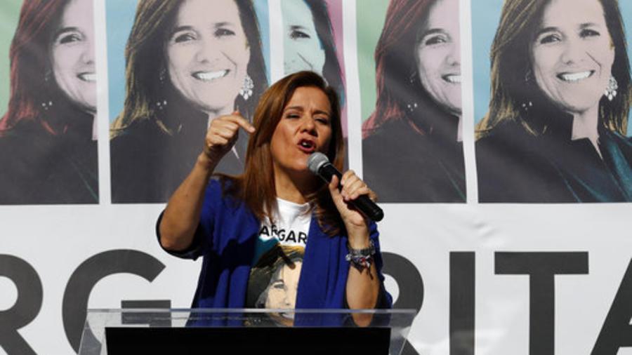 Margarita Zavala en un acto para recaudar firmas para su candidatura independiente a la presidencia de México.