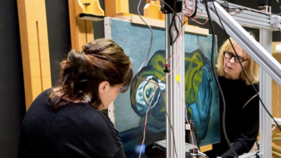 """El cuadro de Pablo Picasso """"La Misereuse Accroupie"""" (""""La pobreza agazapada"""") esconde una pintura de un paisaje que habría sido realizada por el artista hispano-uruguayo Joaquín Torres-García"""