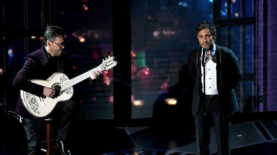 "Gael Garcia Bernal performing the soundtrack for ""Coco"" at the Oscars"