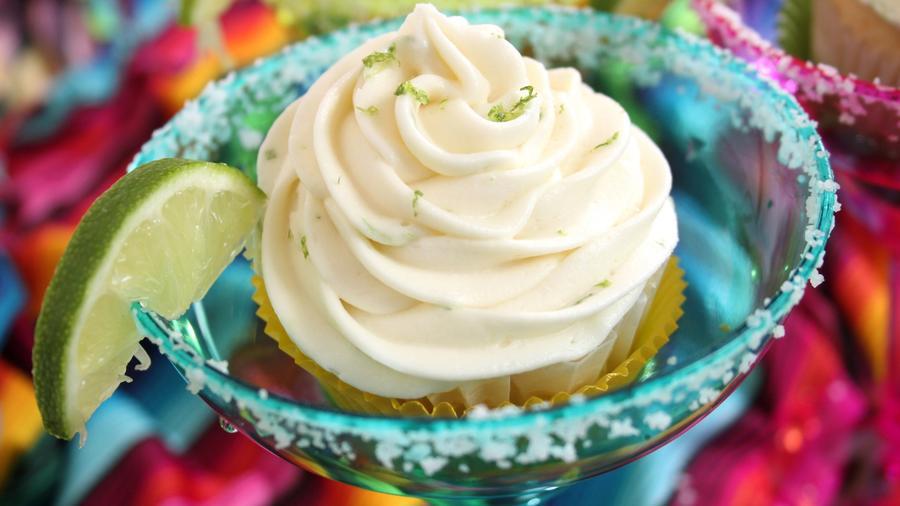 Cupcake in a margarita glass.