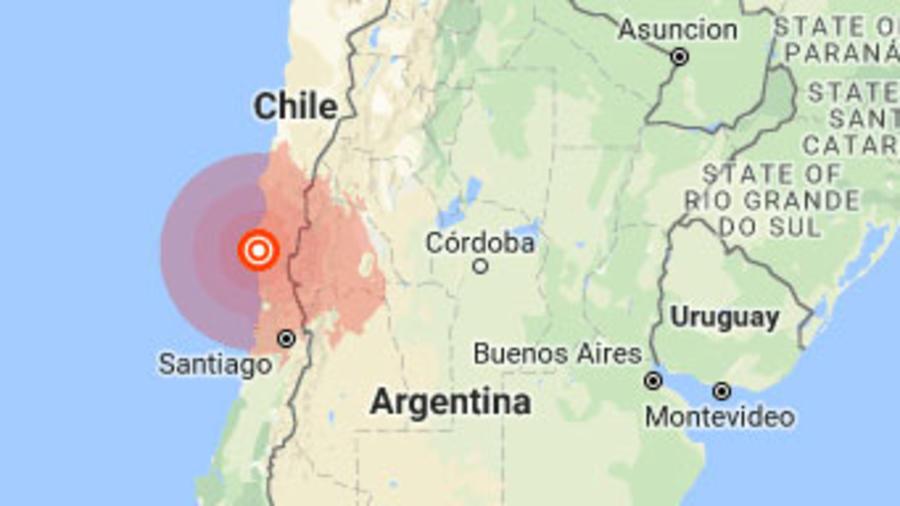 Terremoto estremece el norte de Chile, mapa