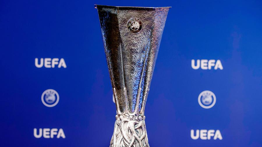 El trofeo de la Liga Europa en Nyon, Suiza, el 19 de junio del 2017.