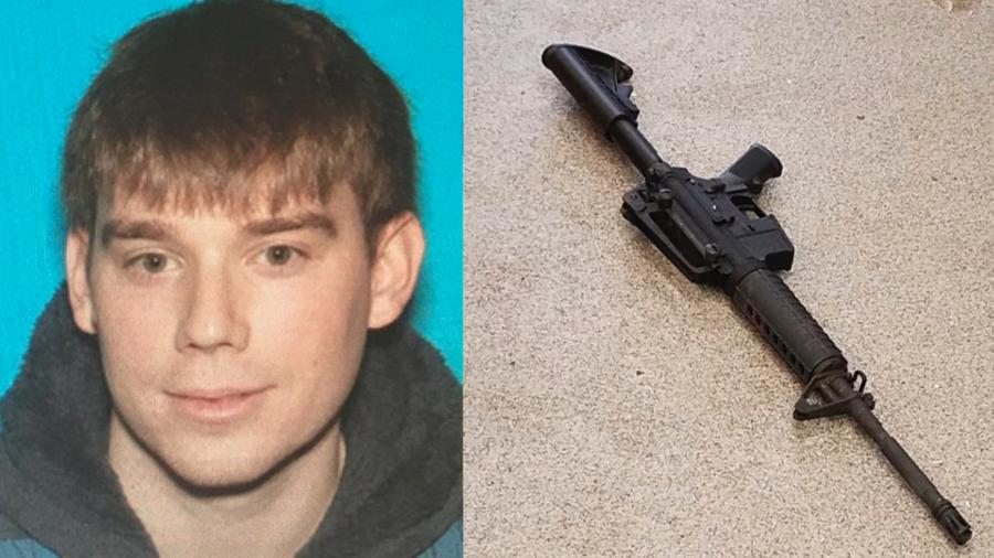A la izquierda, Travis Reinking, el hombre buscado por la policía tras el asalto. A la derecha, el arma usada por el asesino.