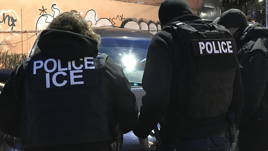 Redada de ICE en Nueva York en abril de 2018.