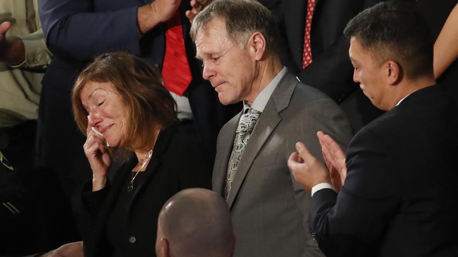 Los padres de Otto Warmbier, en Washington, el 30 de enero 2018.