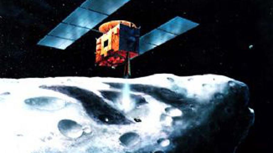 La rendición de un artista de un asteroide distribuida por la Agencia de Exploración Aeroespacial Japonesa (JAXA), el 13 de septiembre de 2015.