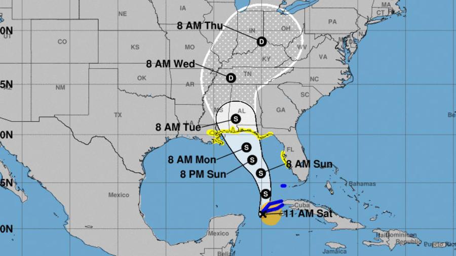 Recorrido pronosticado de la tormenta Alberto en el Golfo de México