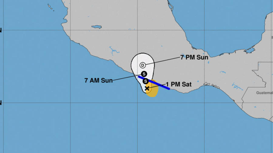 Mapa de la tormenta Carlotta en su aproximación a Acapulco