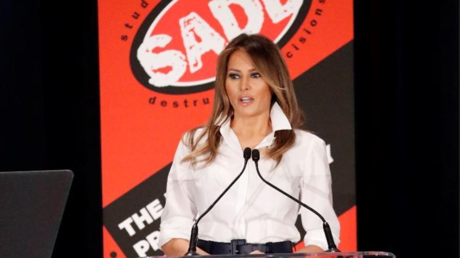 La primera dama, Melania Trump, este domingo en la conferencia anual de SADD.