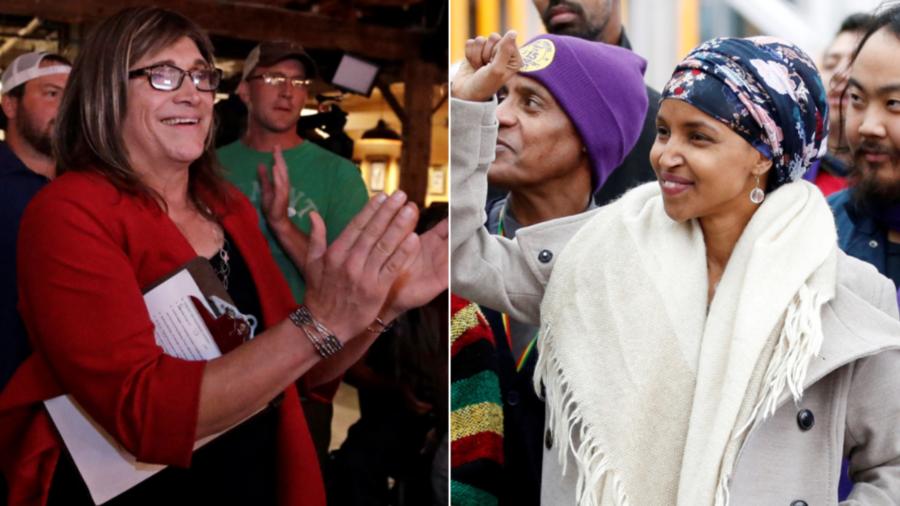 Las demócratas Christine Hallquist (derecha) por Vermont y Ilhan Omar (izquierda) por Minnesota.