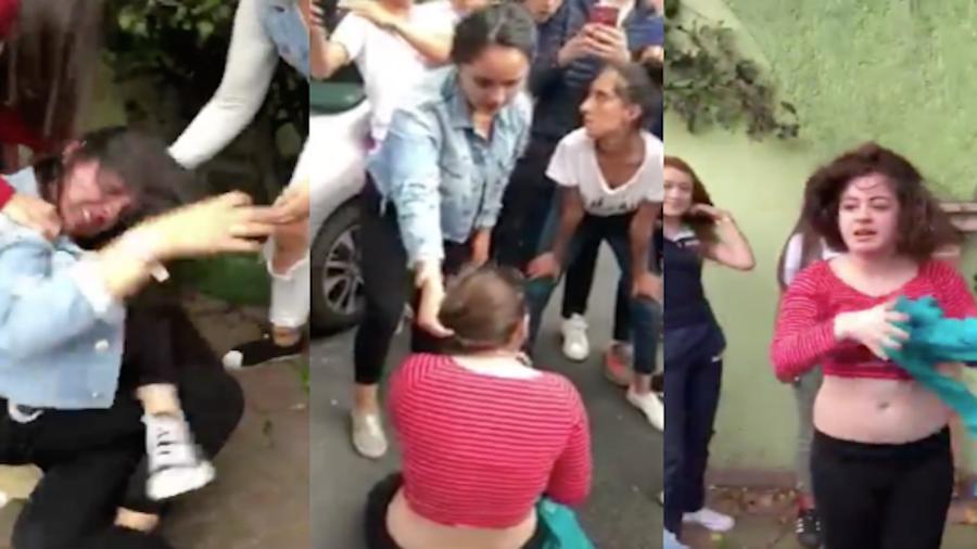 Dos adolescentes protagonizaron una fuerte pelea en calles de la delegación Coyoacán. Foto: Captura de pantalla, especial.
