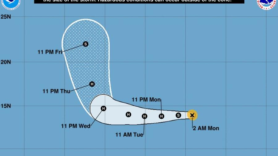 """""""Miriam continúa fortaleciéndose y podría convertirse en un huracán esta noche"""", dice el Centro Nacional de Huracanes (NHC)."""