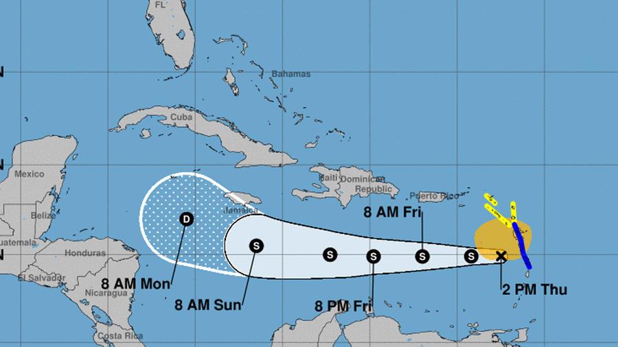 Mapa de la tormenta tropical Isaac en el Caribe