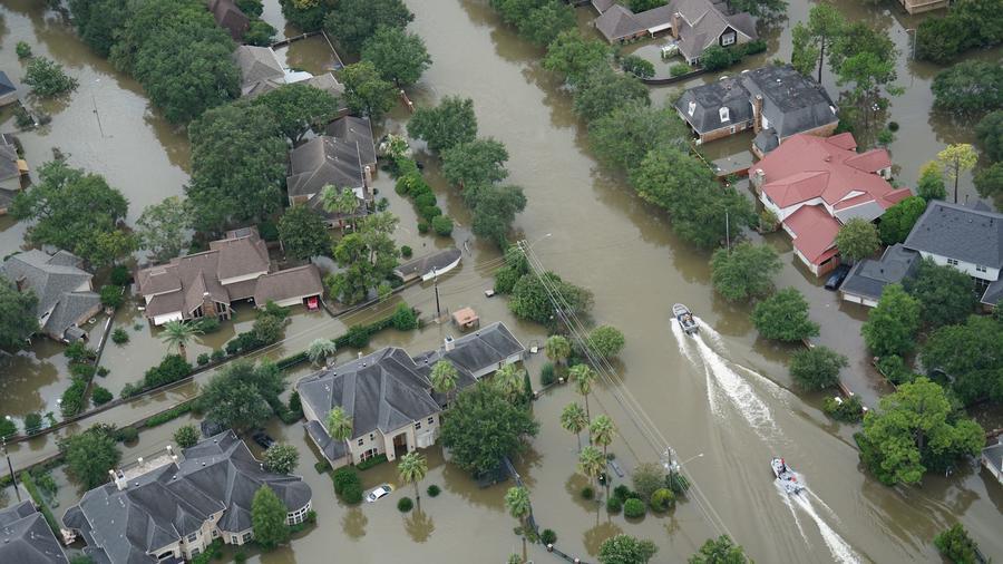 Vecindario inundado luego de un huracán
