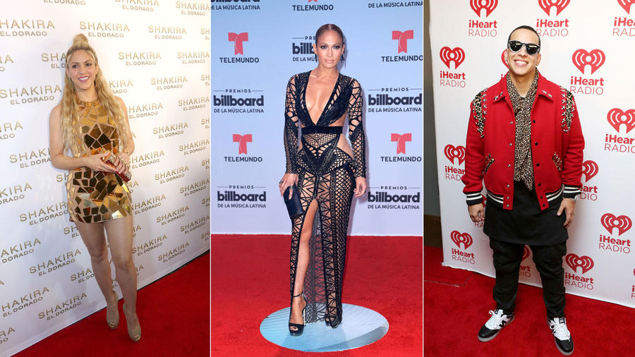 Shakira, Jennifer Lopez, Daddy Yankee collage