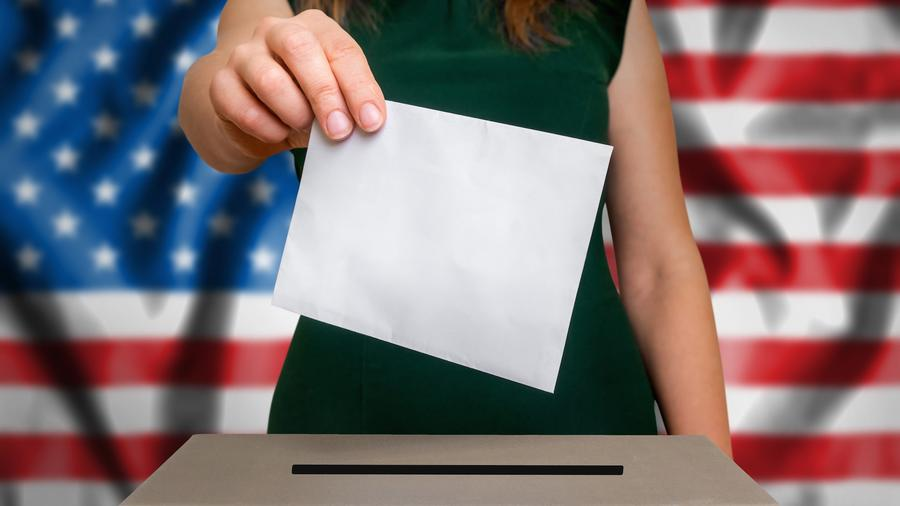 Mujer de vestido votando