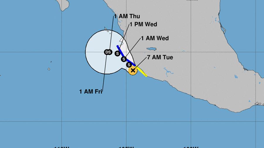 Mapa de la tormenta tropical Tara que corre paralela a la costa oeste de México