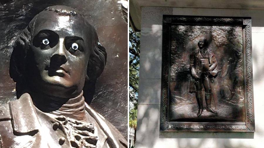 A la estatua de Nathanael Greene le fueron colocados unos ojos saltones de plástico.