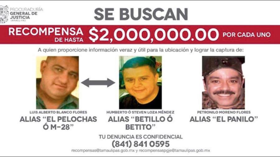 Cartel de búsqueda de Moreno Flores y otros presuntos narcotraficantes del cártel de Golfo.