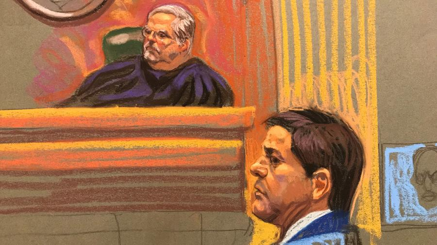 Dibujo de Joquín Guzmán Loera en la corte de Nueva York donde se le juzga por liderar una organización criminal que traficaba toneladas de droga a Estados Unidos