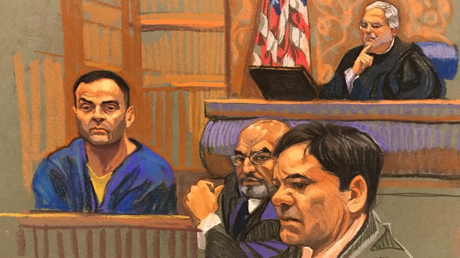 Dibujo de la corte de Brooklyn (Nueva York) donde se lleva a cabo el juicio contra Joaquín Guzmán