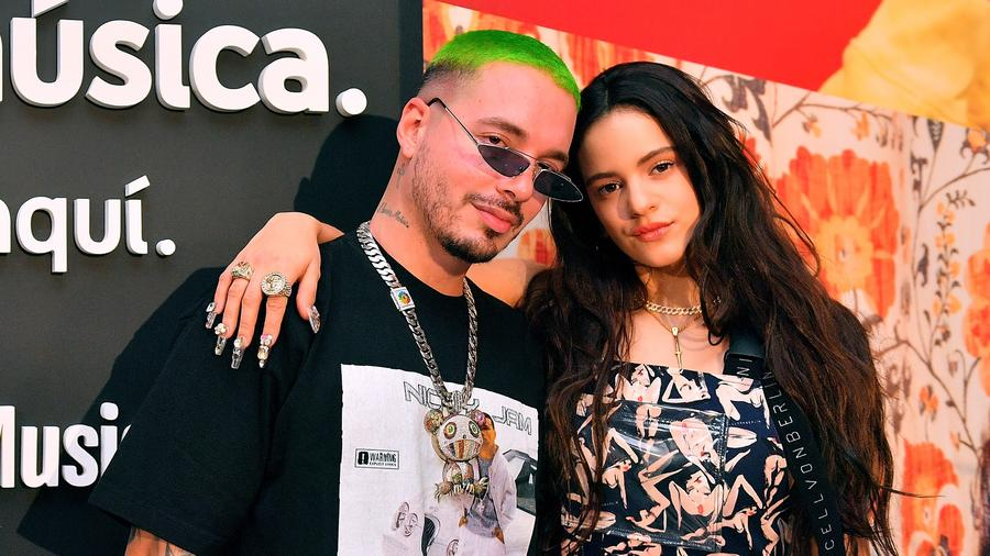 J Balvin and Rosalia at a YouTube music event