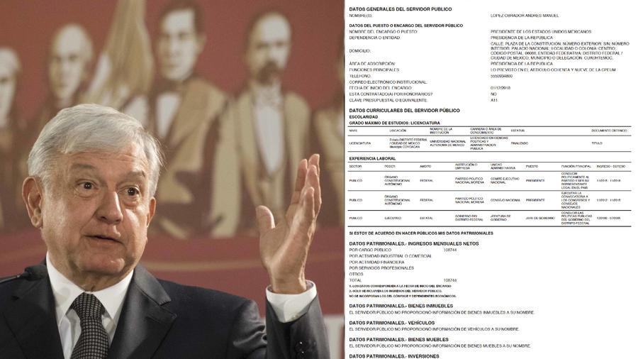 A la izquierda, imagen de archivo de Obrador. A la derecha, su declaración de bienes presentada hoy.