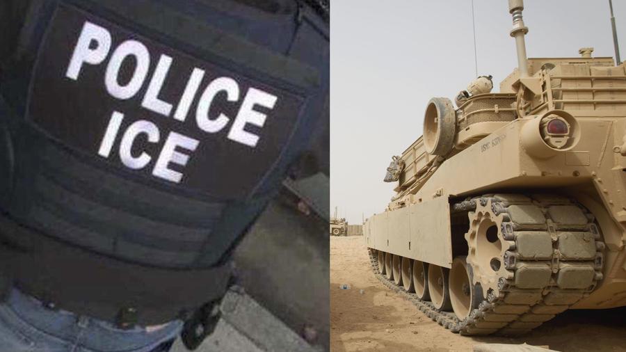 Imagen de archivo de un tanque estadounidense en Afganistán (derecha) y de un oficial de ICE.