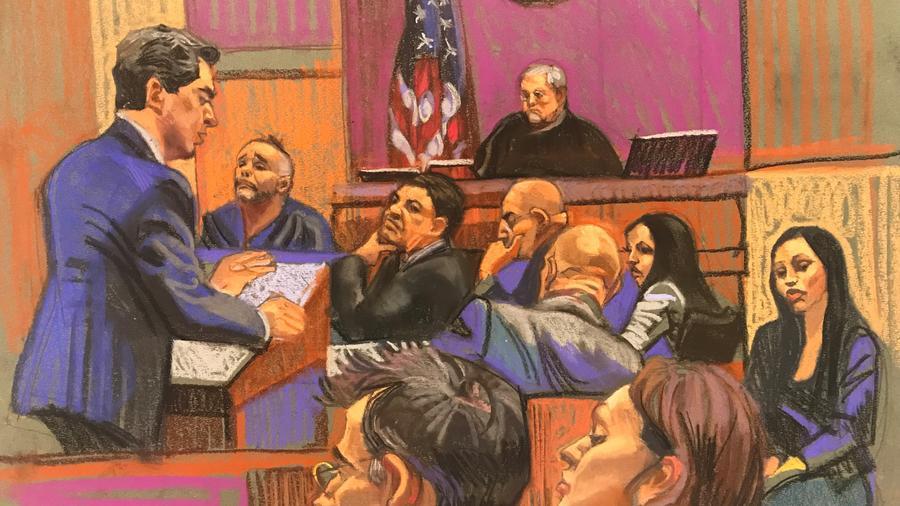 Dibujo de la corte de Brooklyn donde se lleva a cabo el juicio en contra de Joaquín Guzmán Loera