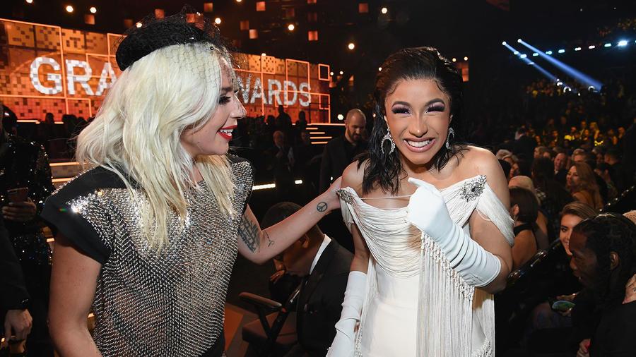Lady Gaga and Cardi B at the 2019 Grammys
