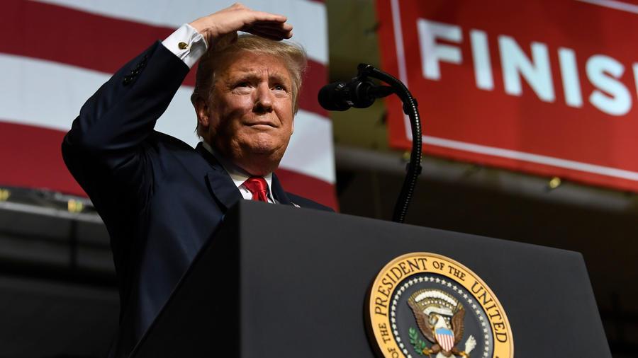 Trump durante su discurso anoche en El Paso, Texas