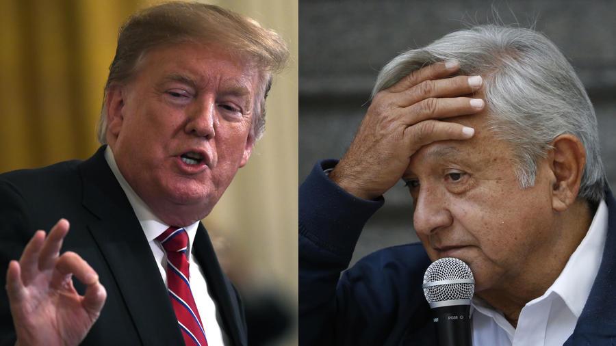 Dos imágenes de archivo de Trump (izquierda) y López Obrador.