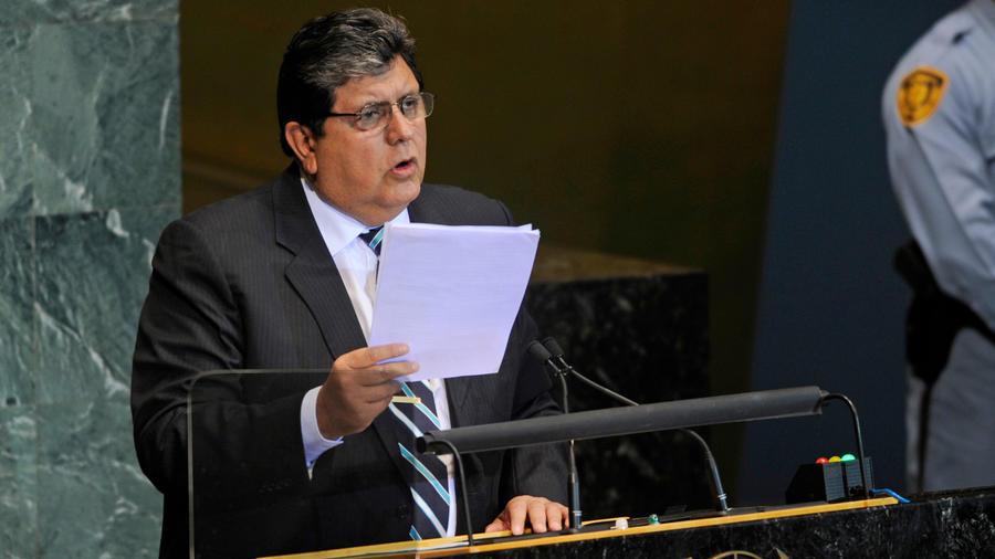 El ex presidente de Perú Alan García ante la ONU en una imagen de archivo
