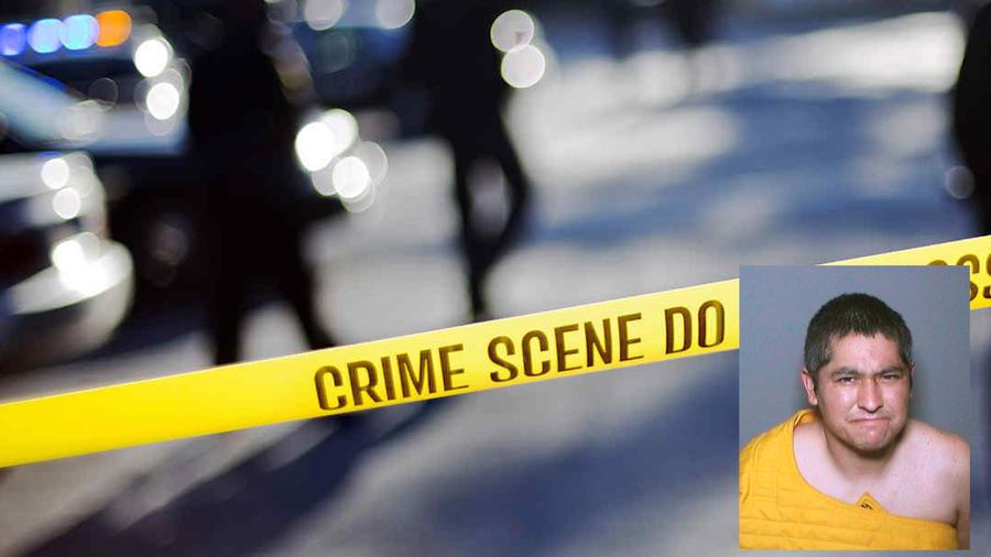 Montaje de una escena del crimen con la fotografía de James Carlos Melendrez, sospechoso de dos intentos de asesinato en California