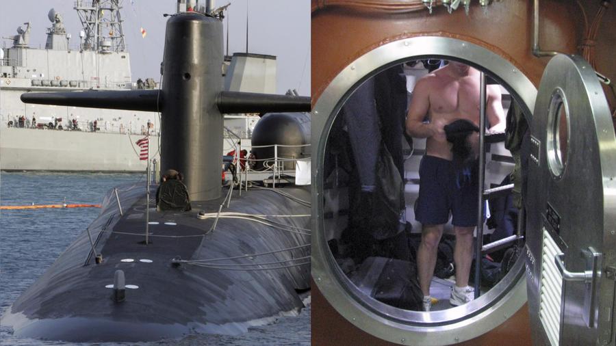 A la izquierda, un submarino nuclear estadouidense en Corea del Sur en 2008. A la derecha, el interior de un submarino en una imagen de archivo.