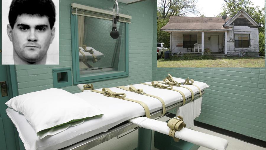 Sala de ejecuciones en el penal de Huntsville. A la izquierda, Cameron Willingham. A la derecha, la casa en la que murieron las niñas.